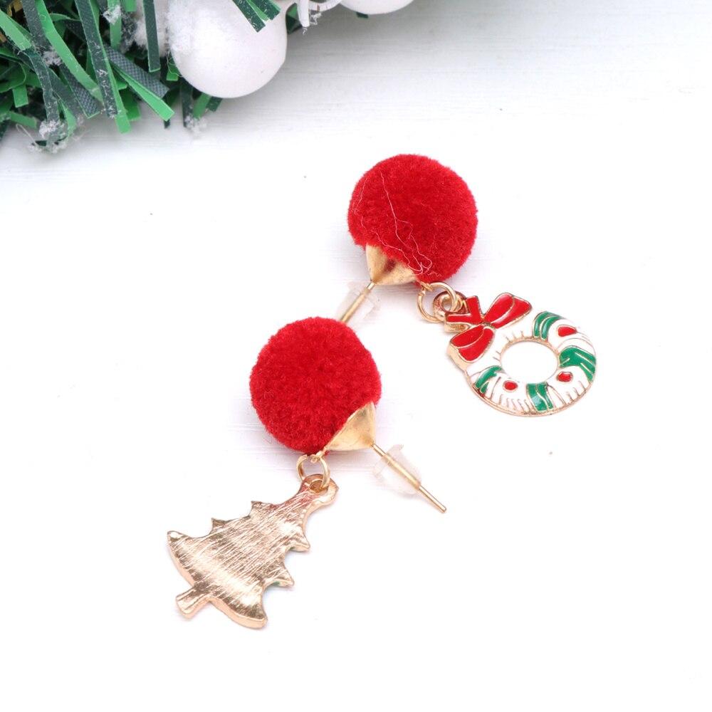 Пару рождественские серьги Творческий асимметрия свисающие сережки, очаровательные серьги-гвоздики Рождественская гирлянда и серьги в ви...