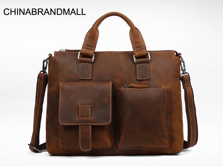 Vintage Cow Leather Men Briefcase Business Office Bag Laptop Bags