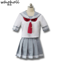Japanese Anime Love Live Sunshine Cosplay Costume Takami Chika Girls Sailor Uniforms Love Live Aqours School Uniforms цена