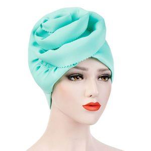 Image 2 - Helisopus Musulmano Delle Donne Solido Grande Elastico Turbante Cappelli di Partito Elegante Copertura Della Testa Wrap Cancro Chemio Berretti Cap Accessori Per Capelli