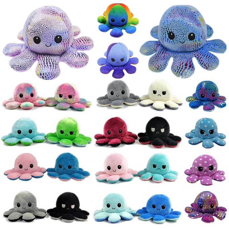 Reversible Flip Octopus Plush Toys Stuffed Toy Soft Simulation Octopus Pillow Home Decoration Accessories Cute Doll for Children