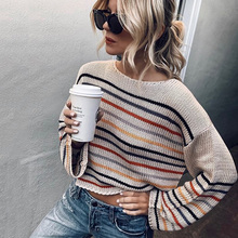 ALLNeon Fashion Oversized Women Sweaters Rainbow Striped O-neck Long Sleeve Knitted Jumpers 2019 Ladies Autumn Pullover Casual