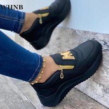 2021 Women Flats Platform Shoes Women Elegant Genuine PU Shoes Woman Spring Casual Zipper Flat Shoes Women Non Slip Shoes