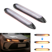 Niscarda 2x Led Car DRL Daytime Running Lights Waterproof Universal Auto Headlight Sequential Turn Signal Yellow Flowing Lamp