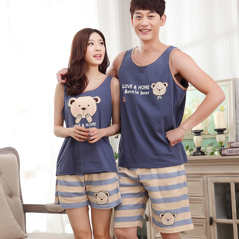 2019 New Women And Men Summer Cotton Thin Vest  Sleeveless Striped Shorts Cute Pajamas Couple 2 Pieces Pajama Sets