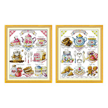 Cake Afternoon Tea Cross Stitch Set 14CT 11CT Printed Canvas Embroidery Sewing Kit DMC Count Chinese Cross Stitch Kit DIY Crafts