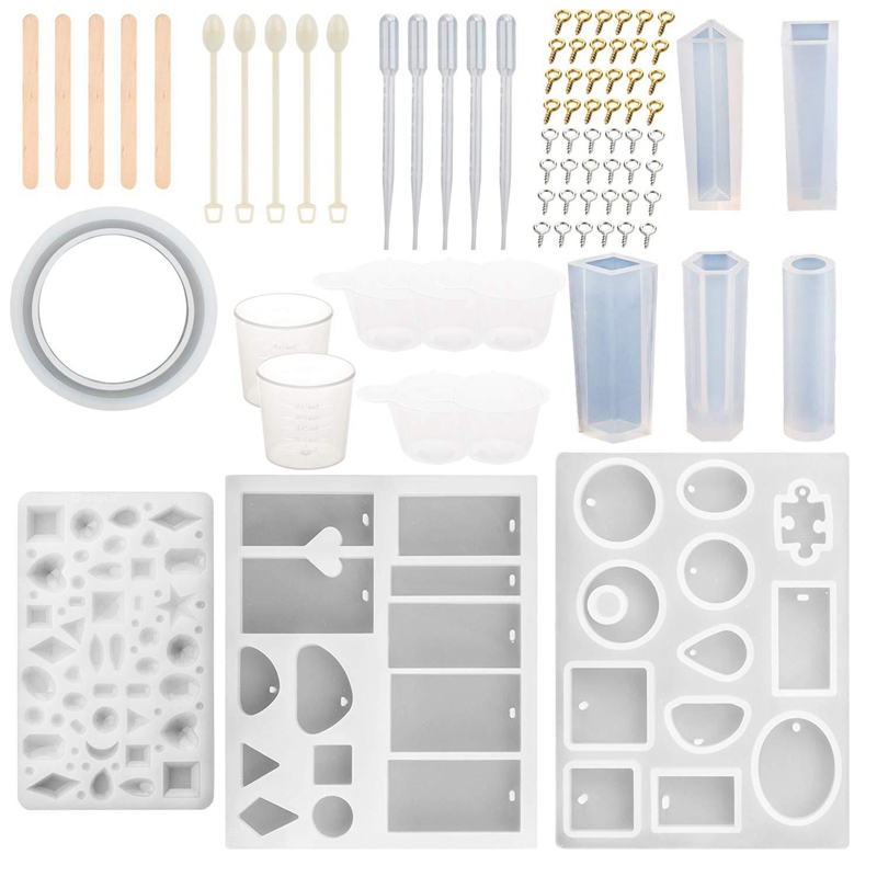 Top-79Pcs DIY Silicone Casting Molds Tools Set For Resin Casting Creative Crystal Epoxy Craft Making