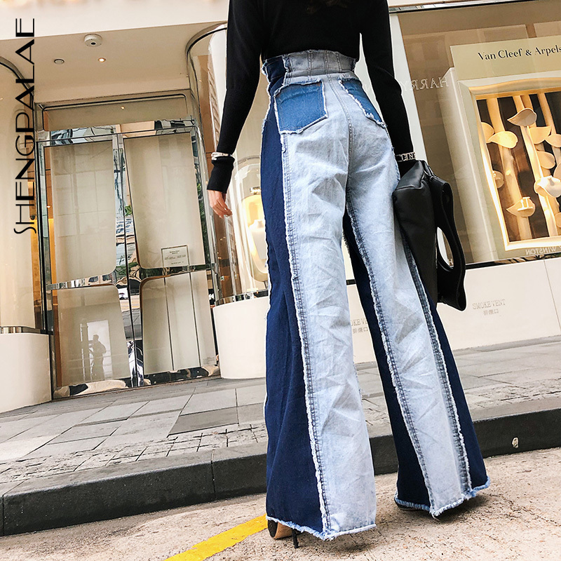 SHENGPALAE 2019 Patchwork Denim Summer Jeans For Female High Waist Wide Leg New Spring Korean Fashion Women's Pants Tide JR841