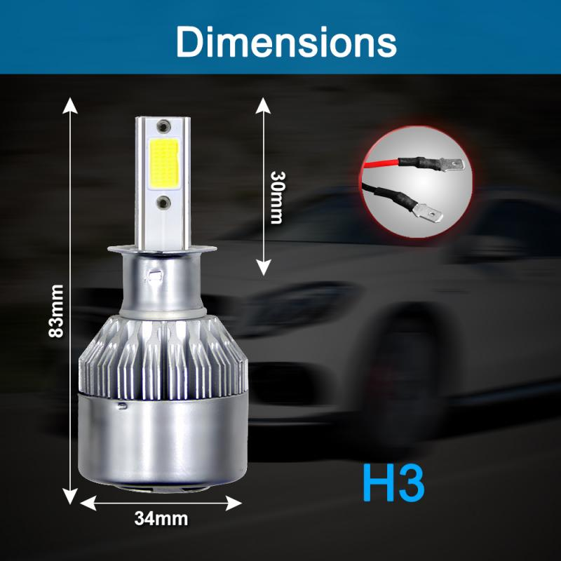 1x C6-H3 COB Car <font><b>LED</b></font> <font><b>Headlight</b></font> Fog light Turbo Light Bulbs Kit 72W 8000LM 6000K <font><b>360</b></font>°Beam Bulb Silver White Lamp FR2 image
