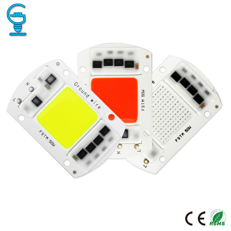 Colorful COB Chip 20W 30W 50W Smart IC LED Chip 220V 240V LED Floodlight Spotlight Red Blue Green Light Bead