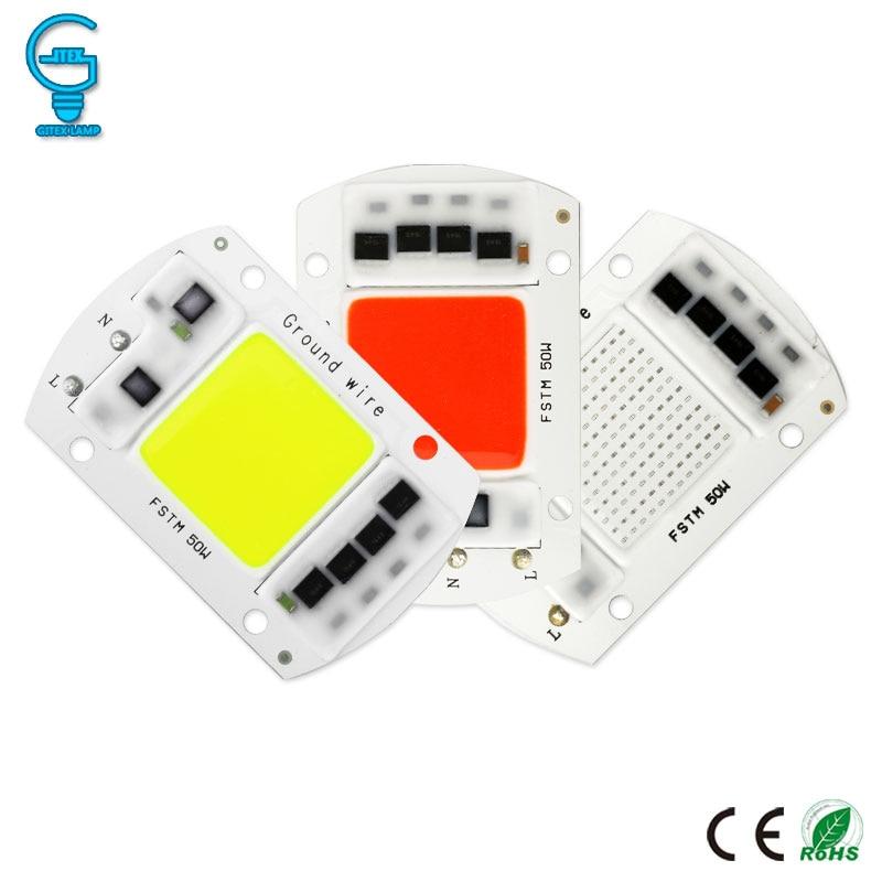 Colorful COB Chip 20W 30W 50W Smart IC LED Chip 220V 240V LED Floodlight Spotlight Red Blue Green Light Bead