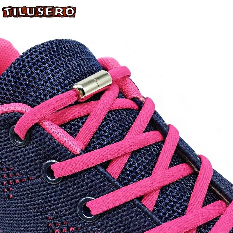 1Pair Elastic No Tie Shoelaces Metal Lock Round Shoe Laces For Kids Adult Sneakers Quick Shoelace Shoe Laces Strings Z023