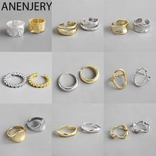 Anenjary-Anillo de Plata de Ley 925 con cadena Irregular, Anillos geométricos abierto de oro, para mujeres y hombres, accesorios de fiesta