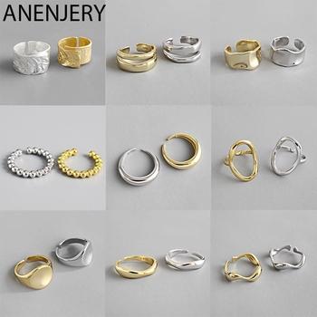 ANENJERY 925 Sterling Silver urocze nieregularne łańcuchy geometryczne pierścienie złote otwarte pierścienie dla kobiet mężczyzn Party prezenty akcesoria tanie i dobre opinie 925 sterling CN (pochodzenie) Kobiety CYRKON Drobne Brak Pierścionki Ring 1 TRENDY Zewnętrzna ocena Pierścień pokazowy