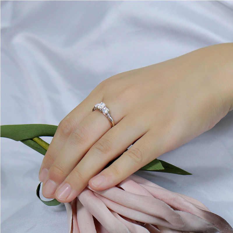 Transgems 14 K 585 สีขาวและ Rose Gold หลัก 0.6ct 4X6mm F สีรูปไข่ Moissanite หิน 3 แหวนหมั้นสำหรับผู้หญิงที่มีสำเนียง
