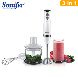 3-in-1 Stainless Steel 2-Speeds Immersion Electric Blender Food Mixer Kitchen Vegetable Meat Grinder 400ml Chopper Whisk Sonifer