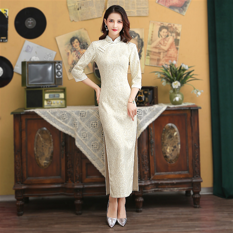 Sheng Coco Sexy Lace White Evening Cheongsam Long Sleeve Long Woman Modern Qipao Chinese Dress Oriental Style Vestido Chines