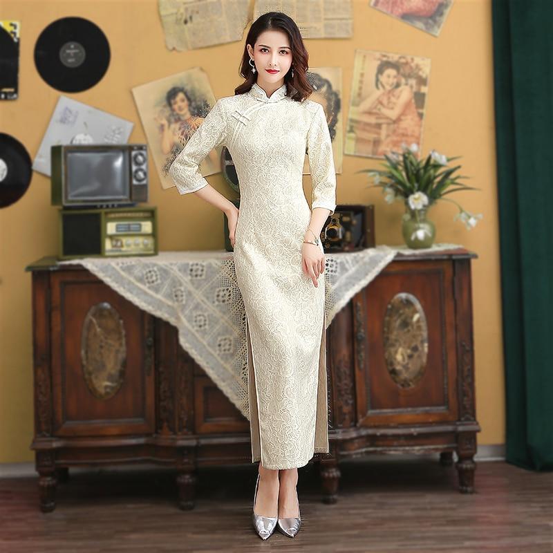 Sheng Coco Sexy Lace White Evening Cheongsam Long Sleeve Long Woman Modern Qipao Chinese Dress Oriental Style Vestido Chines