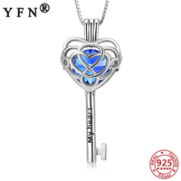 YFN 925 Sterling Silver Cage Necklace With Crystal from Swarovski Love Heart Key Openable Necklace Pendant Valentine's Day Gifts