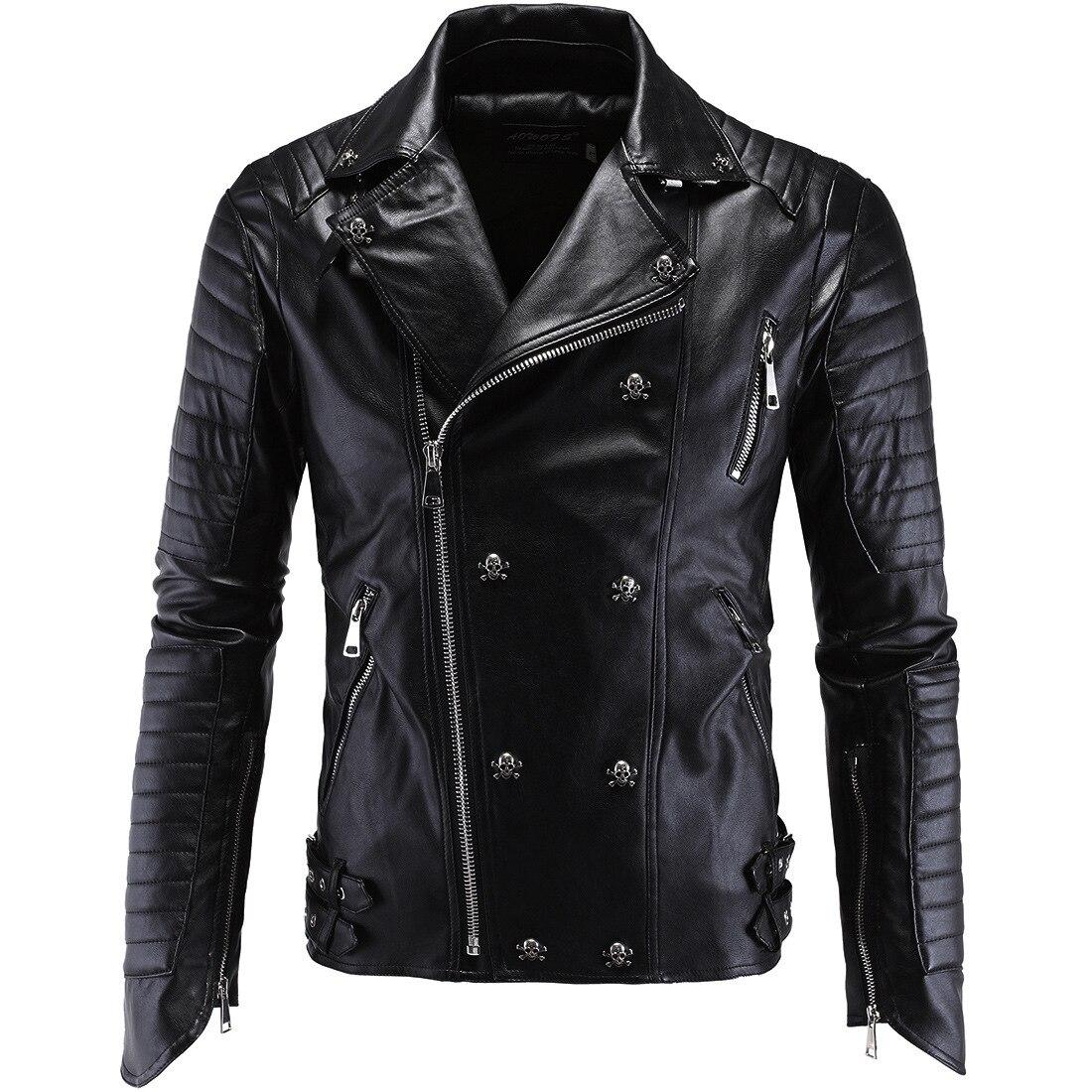 Uomini giacca di Pelle degli uomini Sottili di moda in pelle moto Sottile Harley giacca di pelle per gli uomini-in Giacche in pelle sintetica da Abbigliamento da uomo su  Gruppo 1