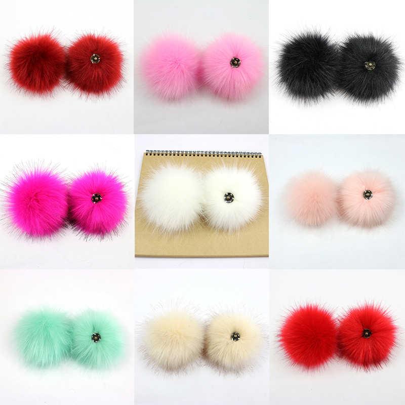 Palsu Hairball Topi Bola Pom Pom Buatan Tangan Diy Buatan Wol Bola Grosir Cap Aksesoris Imitasi Fox Bulu Pompom dengan Gesper 10 Cm
