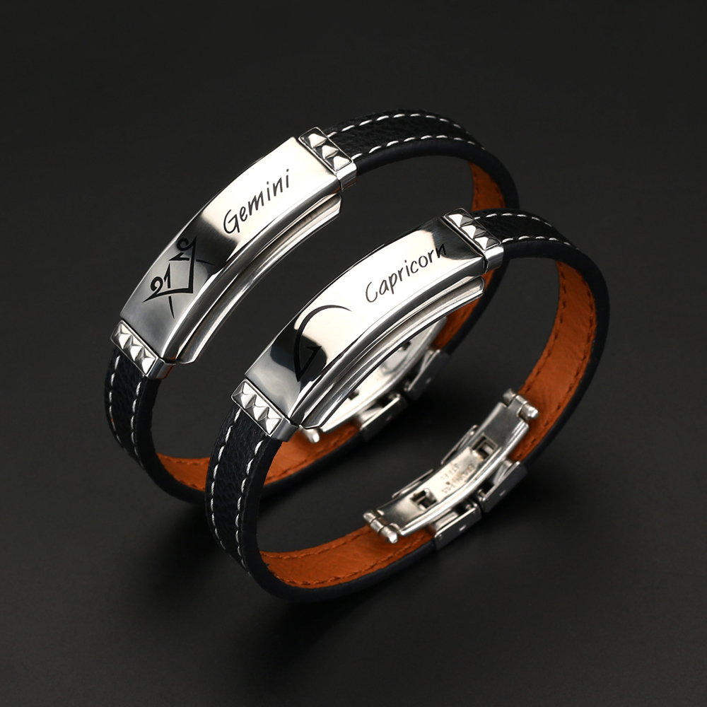 12 Constellations Cuff Bracelet 2021 Fashion Charm Jewelry Black Leather Stainless Steel Men Casual Zodiac Signs Punk Bracelet