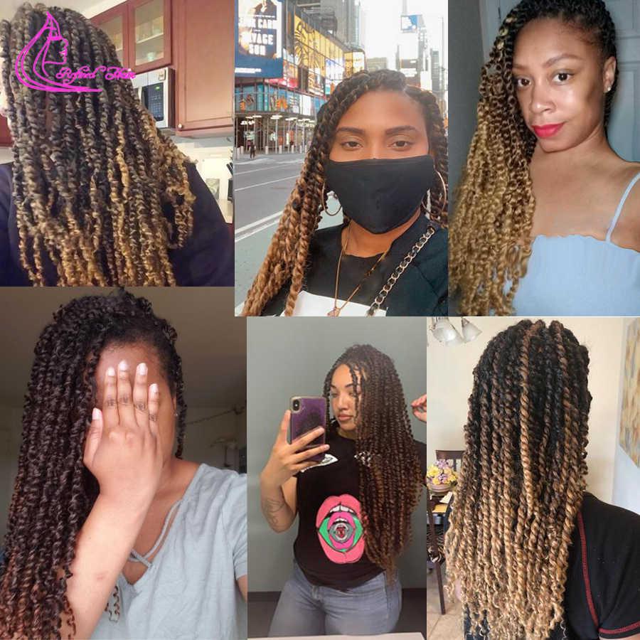 Wyrafinowane włosy wiosna pasja Twist długi czarny brązowy warkocz z włosów Ombre szydełkowe warkocze syntetyczne kręcone włosy na warkocz 22 korzenie/pc