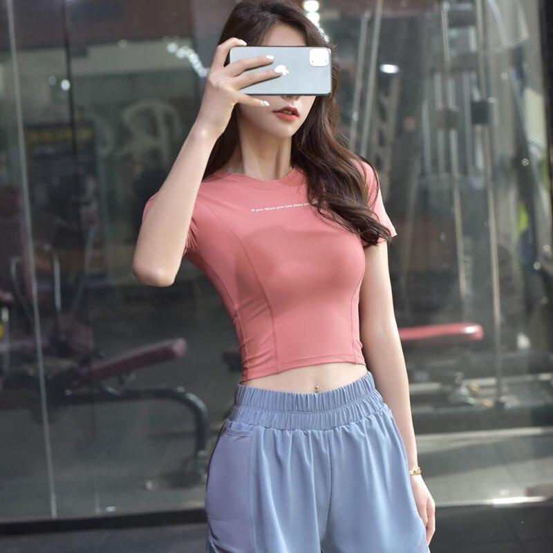 Women's Sport Shirt Sexy Short Sleeve T-Shirt Sport Top Quick Dry Gym Clothes Running Fitness Sportwear 2
