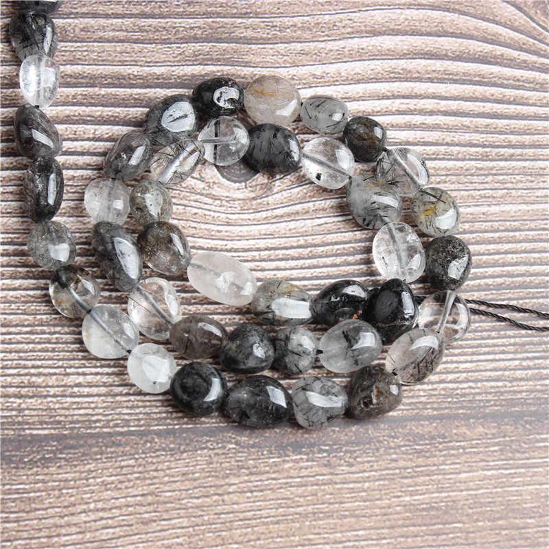Lan Li 6x8 8x10 مللي متر الطبيعية غير النظامية مورغانيتي فضفاض الخرز السلس فضفاض الفاصل الخرزة مجوهرات سوار حجر ذاتي الصنع قلادة سلسلة