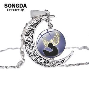 Image 1 - SONGDA Islamic Muslim Allah Culture Necklace Ancient Silver Color Crescent Moon Pendant Clavicle Chain Necklace for Ramadan Gift