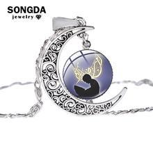 SONGDA islamski muzułmanin Allah kultura naszyjnik starożytny kolor srebrny wisiorek z półksiężycem łańcuszek do obojczyka naszyjnik na prezent Ramadan