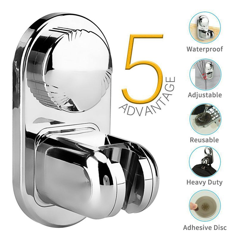 Shower Head Holder Adjustable ABS Material Suction Cup Wall Mount Handheld Shower Stand Bracket Robust Durable