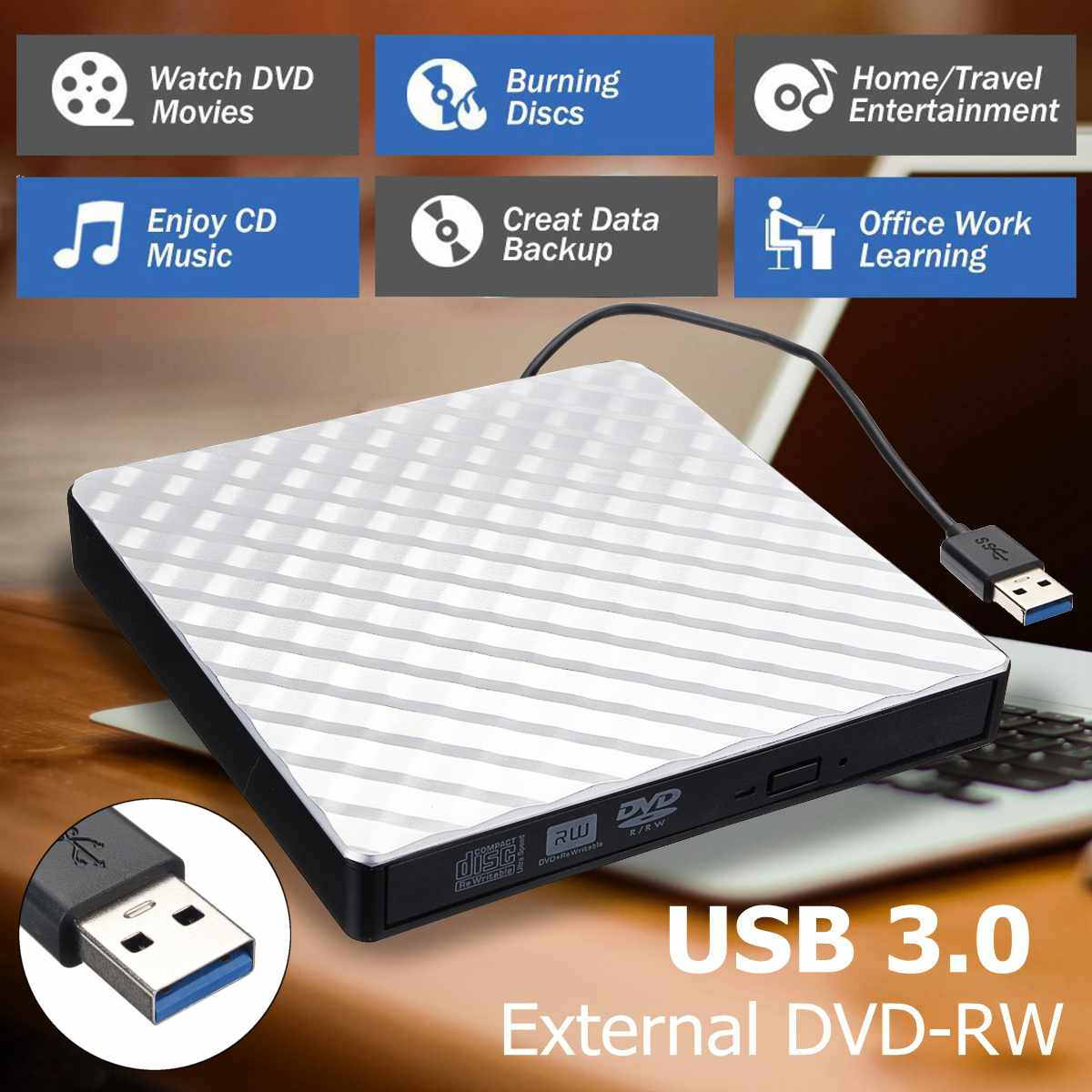 External USB 3.0 DVD RW CD Writer Slim Carbon Grain Drive Burner Reader Player For PC Laptop Optical Drive