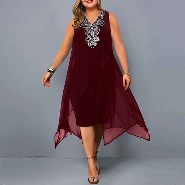 Plus Size Casual  Elegant Embroidery Sequin  1