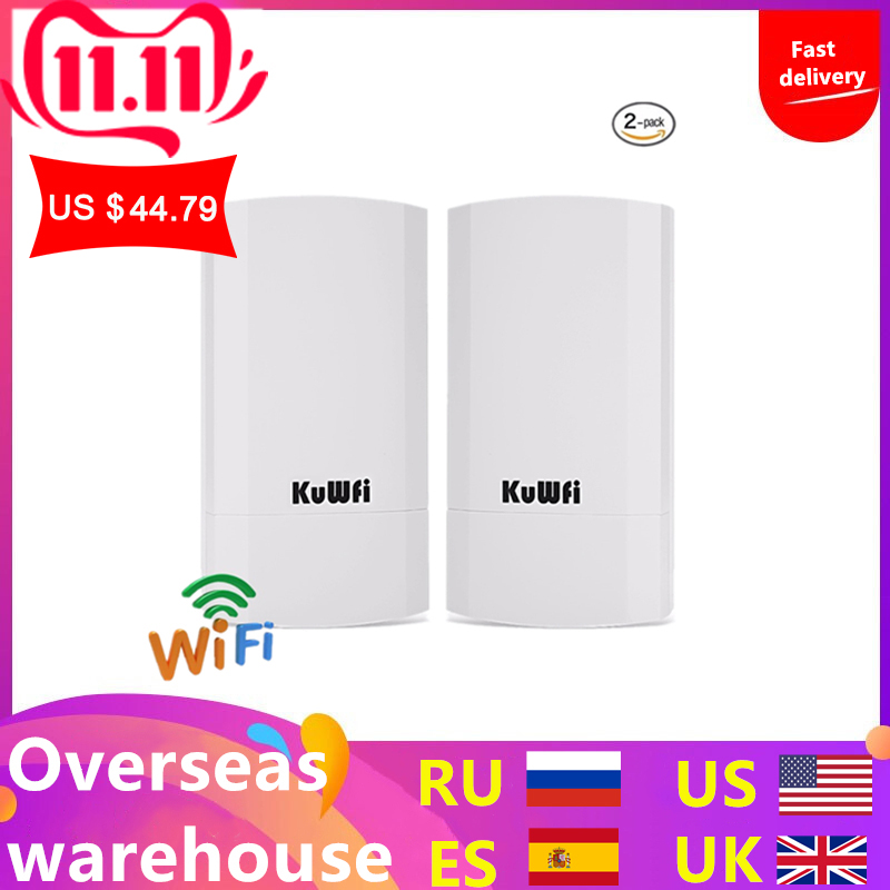 2PCS 300Mbps Wireless CPE Outdoor 1KM P2P Wireless Bridge Router Wifi Repeater Supports WDS Function No Setting With LED Display