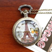 2020Retro Style Men and Women Pocket Watch Bronze Antique Case Necklace Fashion Butterfly Eiffel Tower