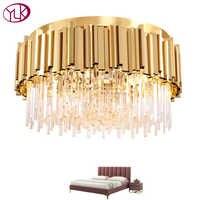 Youlaike rond or Cristal lustre pour plafond luxe moderne chambre LED Lustres De Cristal maison luminaires d'intérieur