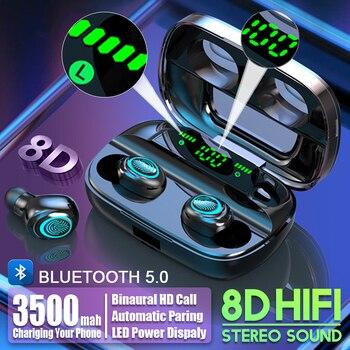 TWS 3500mAh LED Bluetooth Wireless Earphones Headphones Earbuds Touch Control Sport Headset Noise Cancel Earphone Headphone