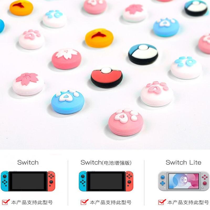 Cute Cat Claw Sakura Thumb Stick Grip Cap Joystick Cover For Nintend Switch Lite NS Joy-Con Controller Gamepad Thumbstick Case