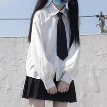 2020 Summer New Korean Version  JK College Tie Loose Thin Shirt High-Waisted Pleated Skirt Suit Female school girl uniform