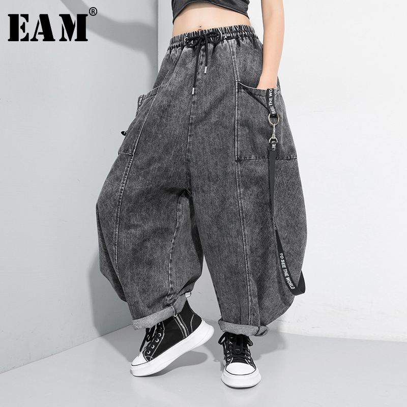 [EAM] Wide Leg Black Big Size Ribbon Stitch   Jeans   New High Waist Loose Women Trousers Fashion Tide Spring Autumn 2019 1D202