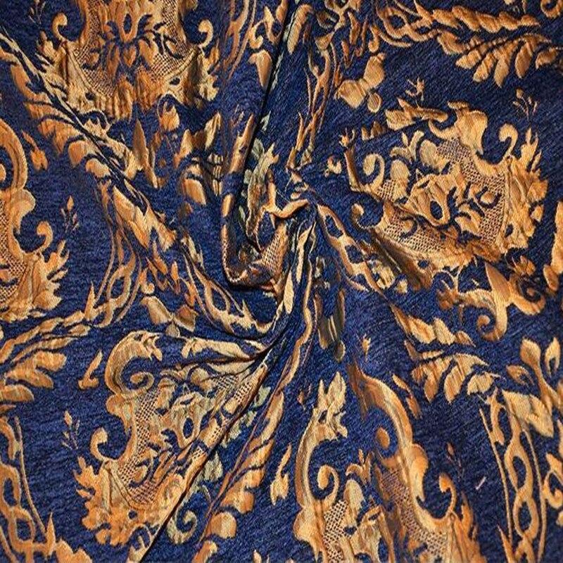 Blue High grade yarn dyed jacquard fashion palace skirt fabric sewing patch textiles diy polyester tissu cloth fabric C869