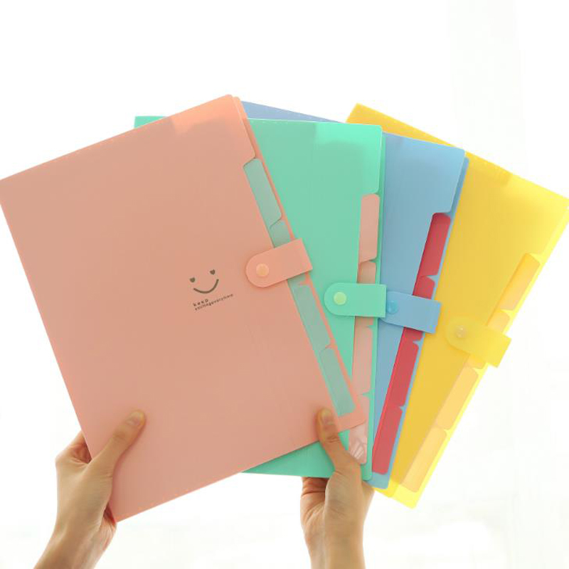 1 Pcs Kawaii A4 Candy Color Smile Face 5 Pocket Waterproof PP Document Bags Pouch Bill File Folder Holder Stationery Organizer