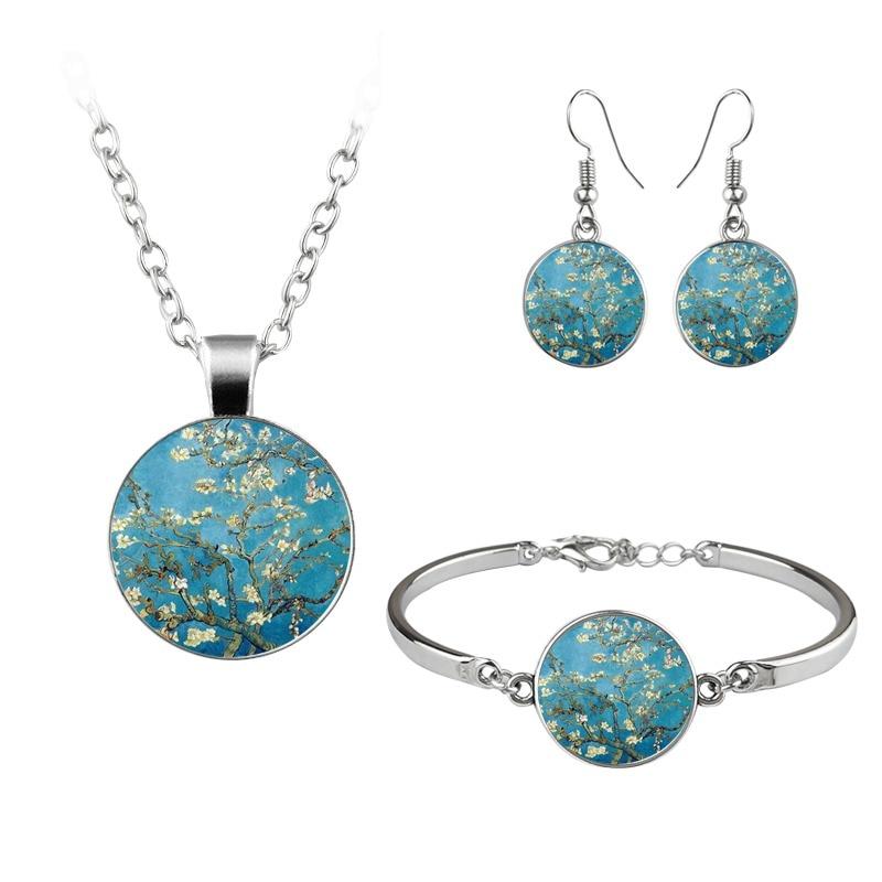 Van Gogh Gustav Klimt Painting Jewelry Sets The Starry Night Glass Dome Earrings Necklace Bracelets For Women Vintage Jewellery