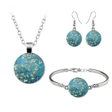 Van Gogh Gustav Klimt Painting Jewelry Sets The Starry Night Glass Dome Earrings Necklace Bracelets
