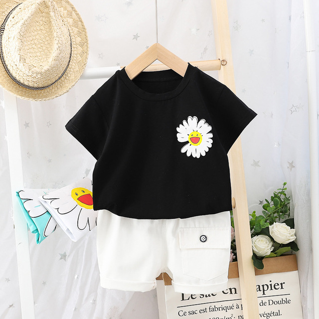 Ensemble de vêtements dété pour bébé garçon   Imprimé T-shirt à manches courtes et Shorts, costume deux pièces pour bébé, à la mode, tenue décontracté pour nouveau-né