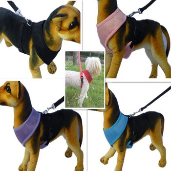 Pink Blue Harness for Dog Puppy Pet Chest Breast Strap Mesh Vest Harnesses Collar for Small Pet Cats Dogs Teddy Chihuahua Yorkie image