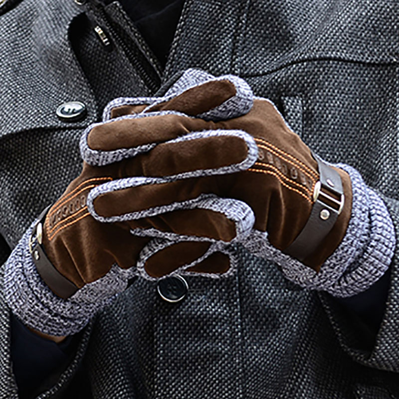 Men's Leather Ski Gloves Winter Thicken Fleece Warm Snow Gloves Outdoor Sport Motorcycle Snowboard Gloves 2020