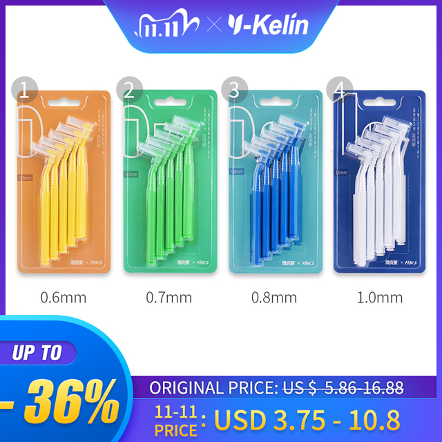 Y Kelin 10pcs 0.6 1.0mm 성인 치간 칫솔 치아 치실 사이 청소 이쑤시개 구강 관리 도구 치과 교정 치과