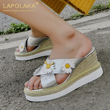 Lapolaka 2020 New Fashion Genuine Leather Women Sandals Wedges Slip-On Flower Platform Pumps Summer Casual Women Shoes